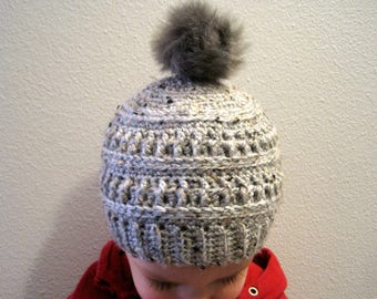 Crochet Ribbed | Winter Hat | with Fur Pompom | for Toddler