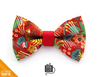 """Tropical Cat Bow Tie - """"Jungle Red"""" - Rifle Paper Co® Cat Collar Bowtie / Kitten Bow Tie / Hawaiian / Summer - Removable (One Size)"""