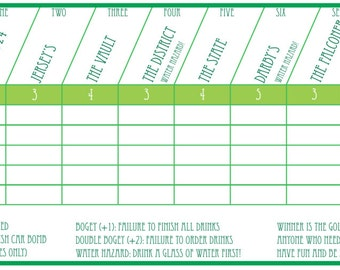 Pub Golf Scorecard - Custom Printable