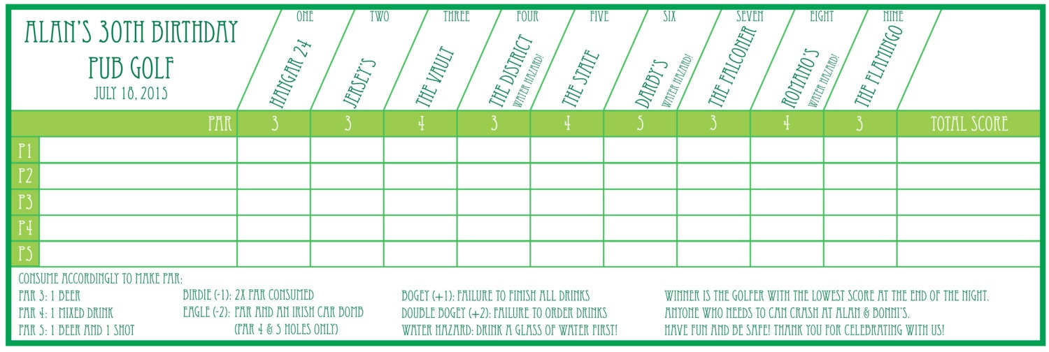 pub golf scorecard custom printable. Black Bedroom Furniture Sets. Home Design Ideas