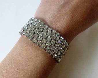Victorian woven pave paste diamante bracelet with slide clasp rare and gorgeous 1800s