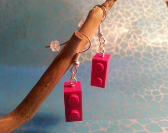 Hand Made Quirky HOT PINK Brick Dangle Earrings, Made using LEGO(r) Pieces