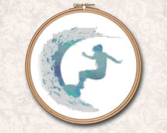 Blue Watercolor Surfboard Surf Board Surfer Girl on Wave Surf  Counted Cross Stitch Pattern - PDF Digital Download