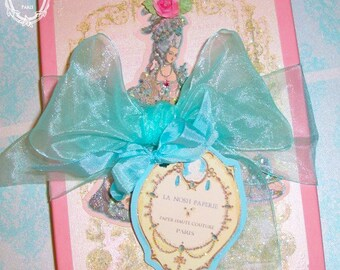 Marie Antoinette Let Them Eat Cake Set of 8 Large Die Cut Marie and Cake Tags In A Custom Gift Box