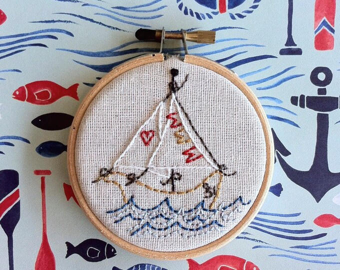 hand embroidery kit | embroidery kit | modern embroidery kit | DIY embroidery | no secrets between sailors ship