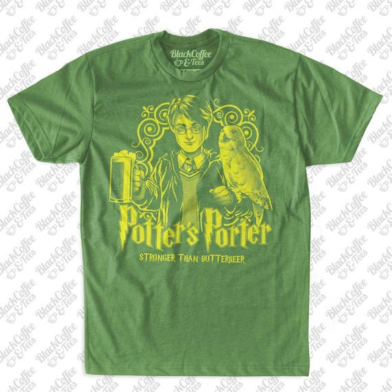 St Patricks Day Harry Potter Shirt - Craft Beer Shirt - Harry Potters Porter Butter Beer Hand Screen Printed on a Mens Green T-Shirt