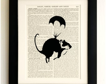 FRAMED ART PRINT on old antique book page - Banksy, Parachuting Rat, Vintage Upcycled Wall Art Print Encyclopaedia Dictionary Page
