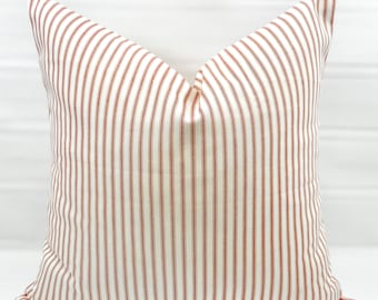 Red Stripe Pillow cover. Red Classic Stripe. Red  and white ticking Stripe  Pillow Case. 1 piece.  cotton. Select your size