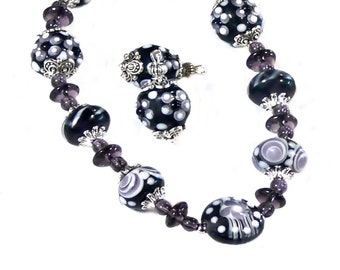 Purple, Lavender, Lampwork Artisan,  Necklace and earrings set choose clip on or pierced fittings