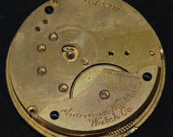 Vintage Antique Waltham Watch Pocket Watch Movement Steampunk SM 90