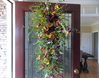 Spring Wreaths-Summer Wreaths-Swags for Front Door-Spring Swag-Spring Swag Wreath-Spring Summer Swag-Teardrop Swag-Handmade Swag Wreath
