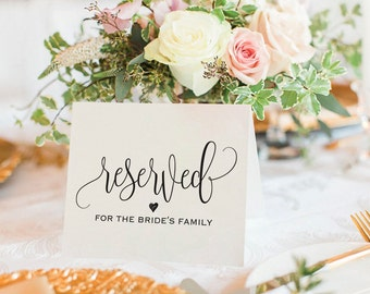 Reserved Printable, Reserved Wedding Sign, Reserved Table Sign, Wedding Printable, Wedding Template, PDF Instant Download #BPB203_42