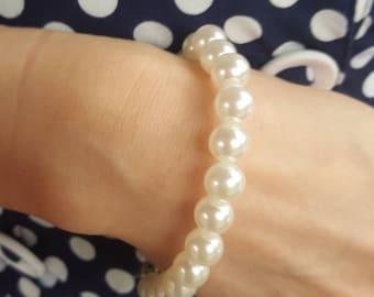 Vintage Pearl Bracelet, Flapper Style Bracelet, Ivory Pearl Bracelet, Pearl Bracelet, Art Deco, Gatsby Bracelet, Gift Idea for Women, Pearls