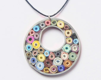 Paper necklace, FREE SHIPPING, Round paper pendant, best gift for mother, Recycled jewelry , 1st anniversary gift, Upcycled necklace