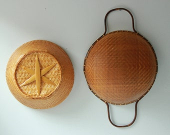 Pair of vintage woven bamboo baskets /  storage basket / wall decor