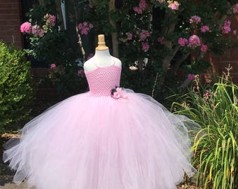 Light pink chic couture with black accents flower girl dress perfect for birthdays, photo opps, weddings and much more