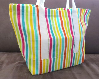 FREE SHIPPING ALWAYS - Colorful Stripes tote bag, cotton bag, reusable grocery bag, knitting project bag, Green Market bag