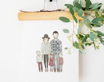Family Portrait | Custom Portrait | Couple Illustration | Watercolor | Hand Painted