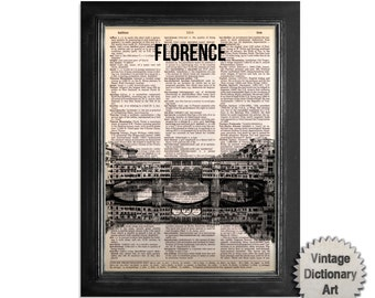 Florence Ponte Vecchio Italy Skyline - Cityscape printed on Recycled Vintage Dictionary Paper - 8x10.5 Dictionary Art Print