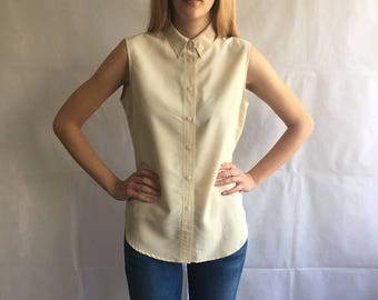 Vintage Off White Button Up Sleeveless Shirt