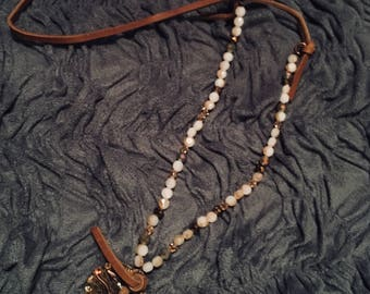Bead and leather rhinestone longhorn necklace