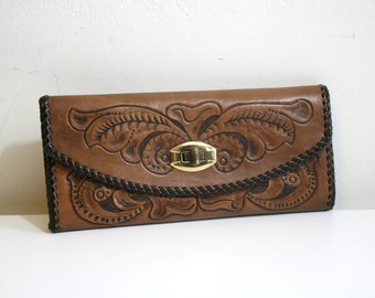 Tooled Leather Wallet Clutch