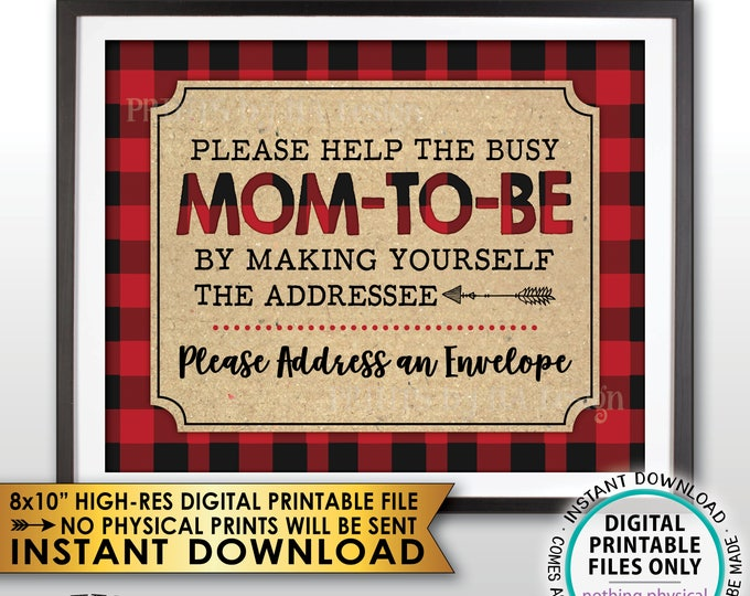 """Address an Envelope Sign, Baby Shower Thank You Address Sign, Make Yourself the Addressee Lumberjack Sign, PRINTABLE 8x10"""" Instant Download"""