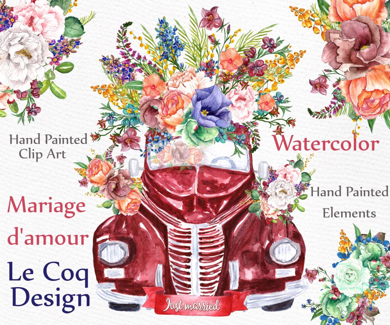 Watercolor wedding clipart: \