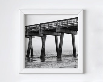 Coastal pier wall art - Tybee Island -Black and white art - Ocean beach photo - Fathers Day photo gift -  Large square print - 20x20