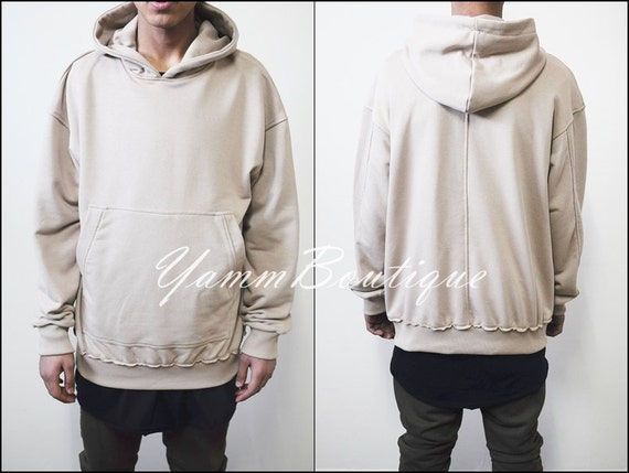 Oversized Essentials Men's Raw Edge 80's Sweater Oversized Fit Dropped Shoulder / Cross Neck Badge Kanye Hoodie KH1im