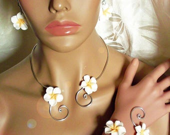 jewelry set white and silver flowers plumeria to customize colors to choose from
