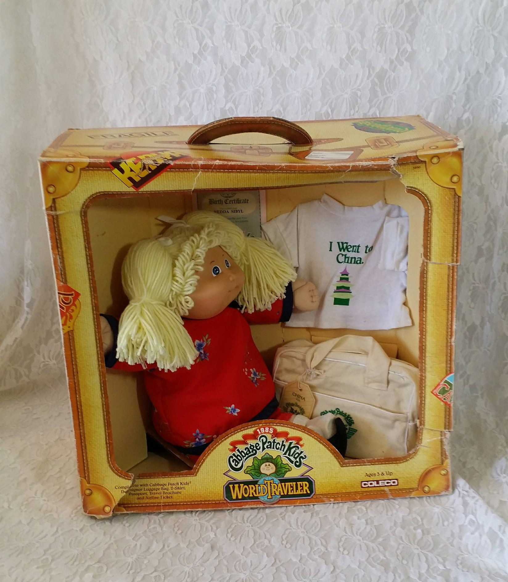 vintage doll 1985 cabbage patch kid world traveller china nrfb with unopened birth certificate