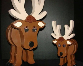 Layered Wooden Reindeer  (X-Lg & Large READY TO SHIP)
