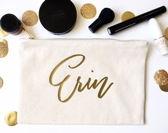 Bridesmaid Cosmetic Bag - Gold Foil Makeup Bag - Custom Name Bag - Bridal Party Makeup Bag - Custom Canvas Bag - Bridal Party Gift