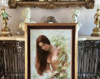 Sale Vintage Oil Painting Portrait of Beautiful Half Nude Woman in a Garden O/C Art Signed Framed