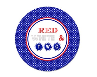 RED WHITE and TWO, 4th of July Plate, 2nd Birthday Plate, Melamine Plate or Bowl, Custom Plate