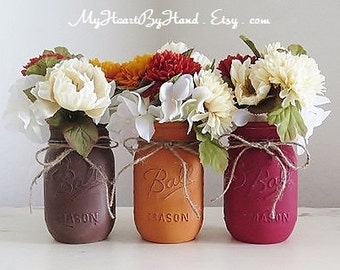 Painted and Distressed Mason Jars, Rustic Fall Centerpieces, Fall Wedding, Halloween and Thanksgiving Decor, Pumpkin Spice, Flower Vases