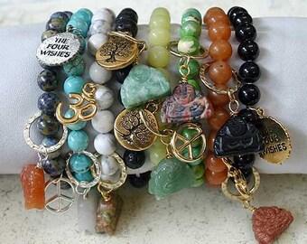 Buddha Bracelet Lapis Lazuli And Peace Sign