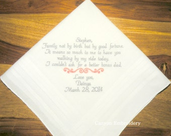 Wedding Gift for Stepdad Stepfather Wedding Gift Embroidered Wedding Handkerchief by Canyon Embroidery