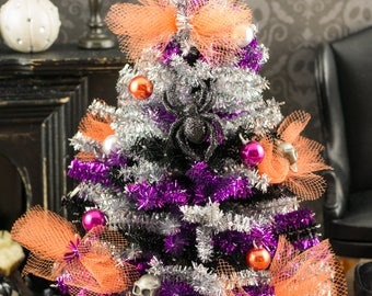 Miniature Tinsel Halloween Tree - 1:12 Dollhouse Miniature