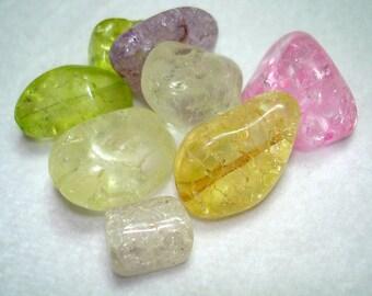 Mix of Ice Flake Quartz Nugget Beads - B3203