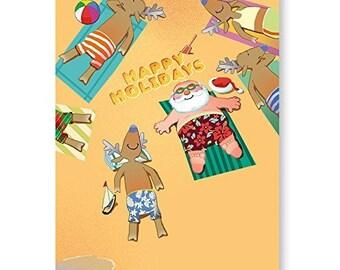 Santa And Crew Sunbath On Beach Christmas Card 18 Carsd & Envelopes - 30040