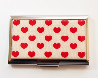 Heart card case, Business Card Case, Card case, business card holder, Red hearts, Valentine's Day (3596)