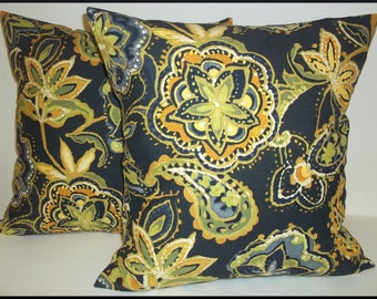 Set of 2 Pillow Covers 18x18-Free Shipping - richloom Dark Blue Floral Home Decor Fabric--