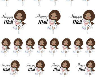 Mia / Cute Girl / Brown Hair / Dark Skin / Happy Mail // Enchanted Squad / Planner Stickers / Printable / Cricut / Instant Download