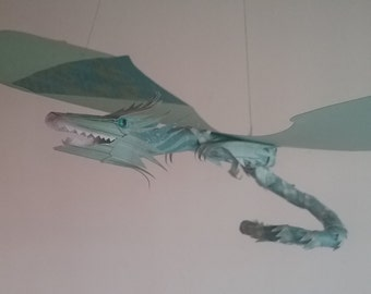 Green and Blue Paper Dragon