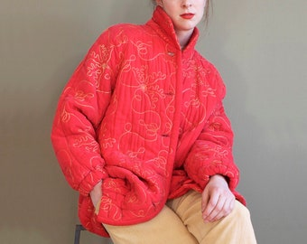 Red quilted silk coat / quilted silk jacket / red silk jacket / embroidered coat jacket / minimalist coat / asian coat / small / medium