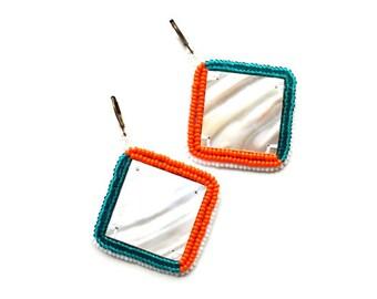 Green Orange White Earrings Oversize mother of the pearl Boho earrings Bead Embellished handcrafted Earrings Afrocentric handiwork earrings
