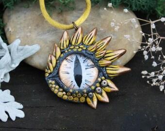 Moon dragon eye pendant - fantasy necklace - gold silver dragon - ooak dragon jewelry - viserion  - game of thrones dragon - drache