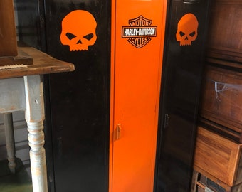 Vintage lockers Harley Davidson colors motif painted 18d45w78h Shipping is not free